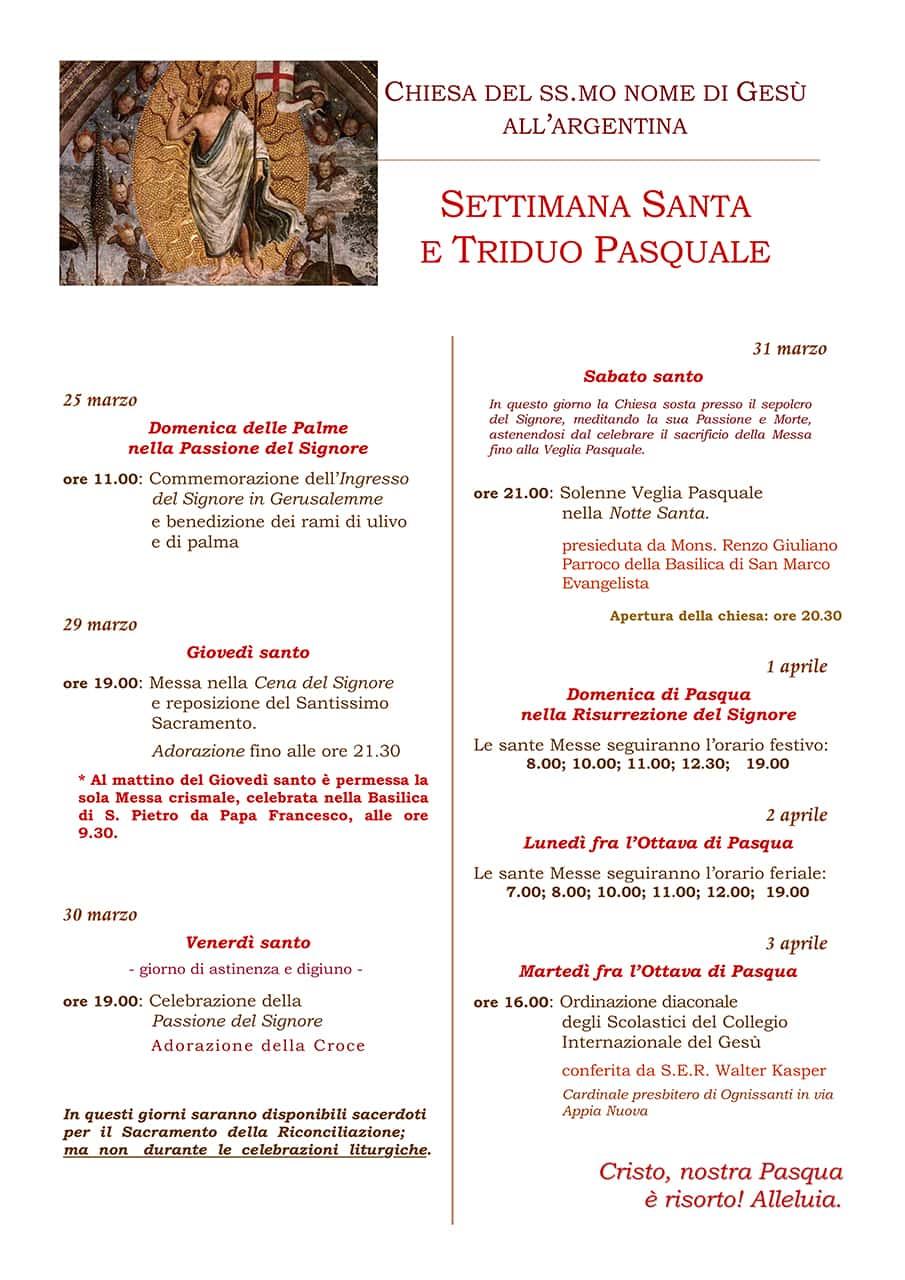 Settimana Santa 2018 - Triduo Pasquale